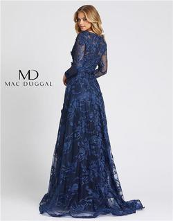Style 20108 Mac Duggal Blue Size 10 Sheer Lace Wedding Guest Ball gown on Queenly