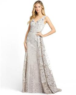 Style 20099 Mac Duggal Silver Size 8 Tall Height A-line Dress on Queenly
