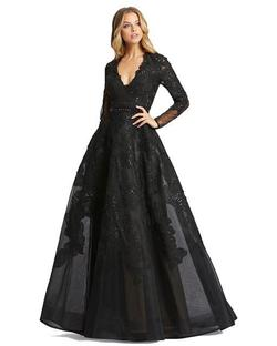 Style 12347 Mac Duggal Black Size 2 Sheer Lace Ball gown on Queenly
