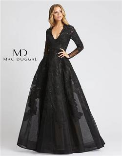 Style 12347 Mac Duggal Black Size 20 Sheer Lace Ball gown on Queenly