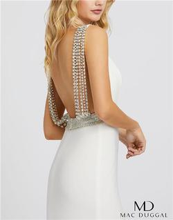 Style 12342 Mac Duggal White Size 0 Backless Tall Height Side slit Dress on Queenly
