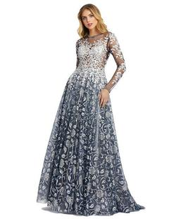 Style 12233 Mac Duggal Silver Size 4 Sheer Tall Height Ball gown on Queenly