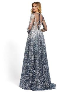 Style 12233 Mac Duggal Silver Size 6 Sheer Tall Height Ball gown on Queenly
