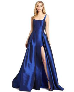 Style 12225 Mac Duggal Blue Size 6 Side Slit Silk Ball gown on Queenly