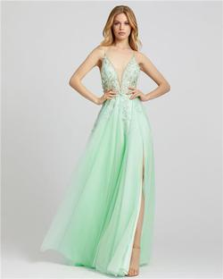 Style 11125 Mac Duggal Green Size 2 Tall Height Wedding Guest Side slit Dress on Queenly