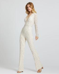 Style 5120 Mac Duggal White Size 4 Long Sleeve Fun Fashion Pageant Jumpsuit Dress on Queenly
