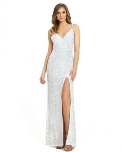 Style 5064 Mac Duggal White Size 16 Pageant Sequin Side slit Dress on Queenly