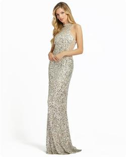 Style 4818 Mac Duggal Silver Size 4 Halter Tall Height Mermaid Dress on Queenly