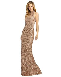 Style 4818 Mac Duggal Gold Size 0 Pageant High Neck Mermaid Dress on Queenly