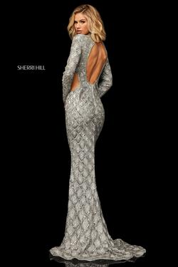 Sherri Hill Silver Size 4 High Neck Fitted Straight Dress on Queenly