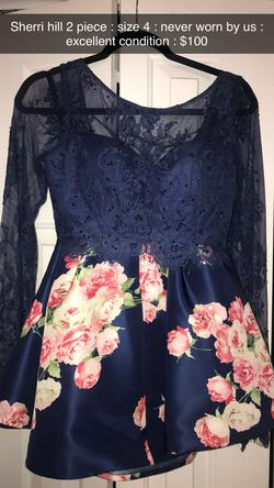 Sherri Hill Blue Size 4 Two Piece Cocktail Dress on Queenly