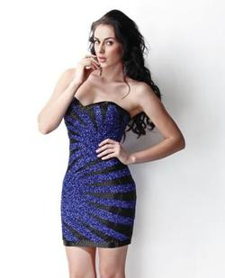 Style 9425 Primavera Blue Size 6 Mini Tall Height Cocktail Dress on Queenly
