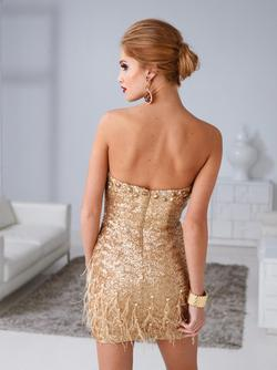 Style H1261 Terani Couture Gold Size 4 Mini Tall Height Cocktail Dress on Queenly