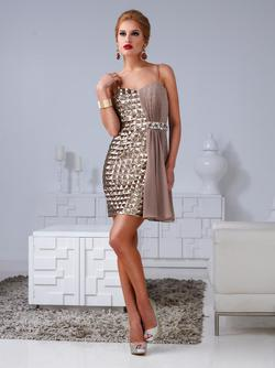 Style H1207 Terani Couture Gold Size 8 Tall Height Wedding Guest Cocktail Dress on Queenly