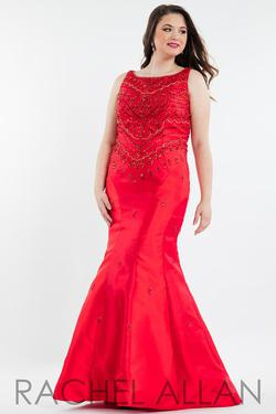 Style 7842 Rachel Allan Red Size 22 Pageant Halter Tall Height Mermaid Dress on Queenly