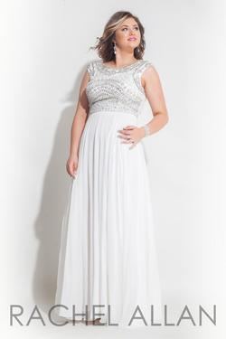 Style 7413 Rachel Allan White Size 16 Pageant Tulle Tall Height A-line Dress on Queenly