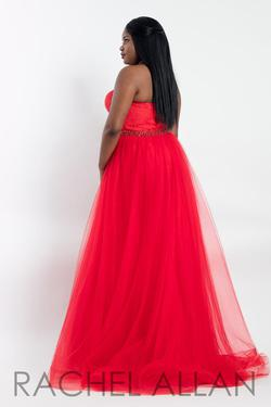 Style 6300 Rachel Allan Red Size 14 Plus Size Tall Height Lace A-line Dress on Queenly