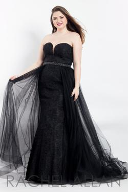 Style 6300 Rachel Allan Black Size 14 Prom Pageant A-line Dress on Queenly