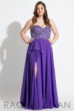Style 7831 Rachel Allan Purple Size 14 Plus Size Tall Height Side slit Dress on Queenly