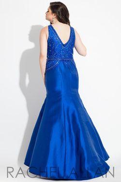 Style 7813 Rachel Allan Blue Size 16 Halter Tall Height Mermaid Dress on Queenly