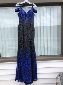 Jovani Royal Blue Size 2 Side slit Dress on Queenly