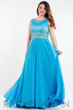 Style 7828 Rachel Allan Blue Size 28 Pageant Tulle Tall Height Mermaid Dress on Queenly