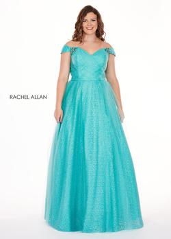 Style 6663 Rachel Allan Blue Size 14 Tulle Tall Height A-line Dress on Queenly