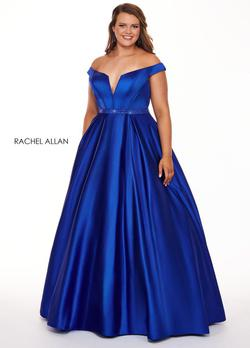 Style 6670 Rachel Allan Royal Blue Size 24 Jersey Silk Ball gown on Queenly