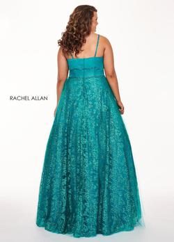 Style 6695 Rachel Allan Green Size 14 Tulle Tall Height Ball gown on Queenly