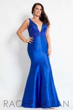 Style 6310 Rachel Allan Blue Size 20 Tall Height Mermaid Dress on Queenly