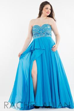 Style 7831 Rachel Allan Blue Size 14 Plus Size Tall Height Side slit Dress on Queenly