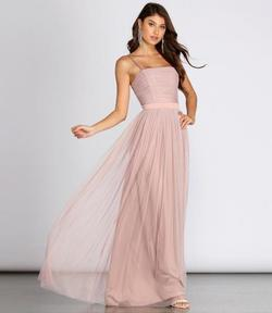 Windsor Pink Size 4 Tall Height Tulle Spaghetti Strap A-line Dress on Queenly