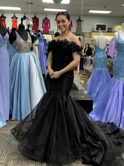 Rachel Allan Black Size 4 Ruffles Pageant Cut Out Mermaid Dress on Queenly