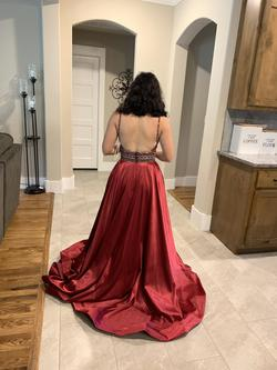 Rachel Allan Red Size 4 Pageant Sequin Burgundy Train Dress on Queenly