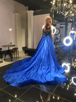 Jovani Royal Blue Size 4 Pageant Fully-beaded Train Dress on Queenly