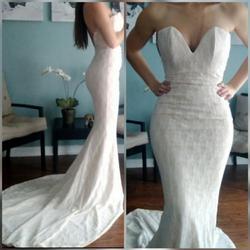 Portia & Scarlett White Size 0 Wedding Silk Mermaid Dress on Queenly