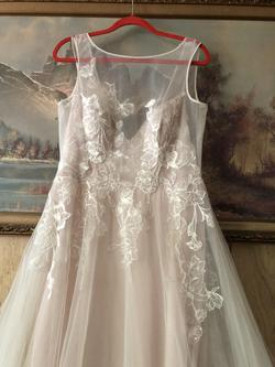 Davids Bridal Nude Size 12 Train Sheer Lace Ball gown on Queenly