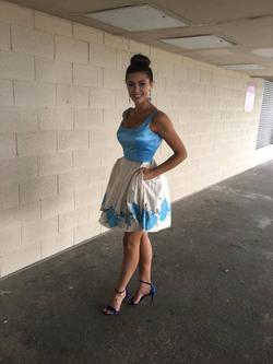 Sherri Hill Blue Size 4 Tall Height Custom A-line Dress on Queenly