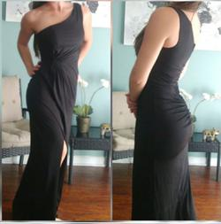 Bariano Black Size 2 Bridesmaid Pageant Jersey Side slit Dress on Queenly