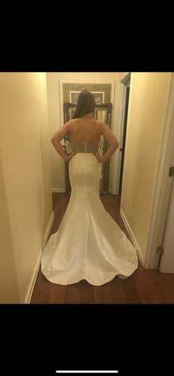Blush White Size 8 Prom Halter Mermaid Dress on Queenly