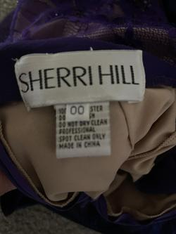 Sherri Hill Purple Size 00 One Shoulder Sheer Straight Dress on Queenly
