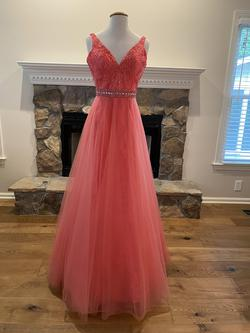 Style 6039 Rachel Allan Orange Size 4 Straight Dress on Queenly
