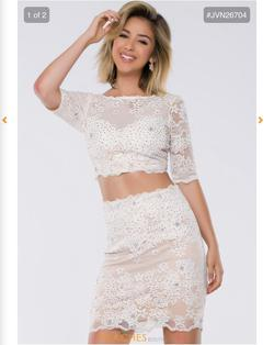 Jovani White Size 8 Sequin Bodycon Cocktail Dress on Queenly