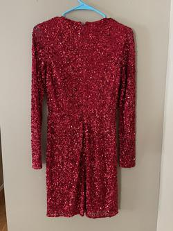 Ashley Lauren Red Size 4 Long Sleeve Custom Cocktail Dress on Queenly