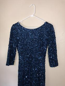 Adrianna Papell Blue Size 4 Prom Sequin Straight Dress on Queenly