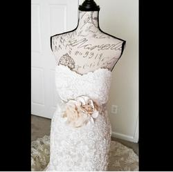 Martina Liana White Size 6 Short Height Sweetheart Train Lace Mermaid Dress on Queenly