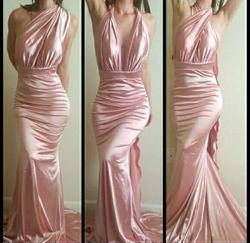 Portia & Scarlett Pink Size 4 Mermaid Pageant Bodycon Silk Train Dress on Queenly