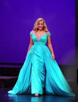 Sherri Hill Couture Blue Size 6 Pageant Silk Ball gown on Queenly