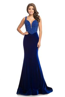 Jonathan Kayne Blue Size 4 Pageant Sequin Velvet A-line Dress on Queenly