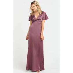 Style Rome Show Me Your Mumu Purple Size 0 Bridesmaid V Neck Silk A-line Dress on Queenly